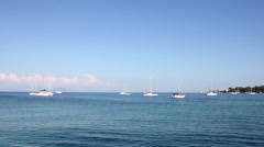 Yacht and boats Garitsa bay Kerkyra Corfu island Stock Footage