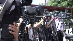 TV camera in a series of shooting news - stock footage
