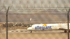 Airplanes leaving Las Vegas at McCarran airport Stock Footage