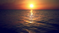 Scenic view of beautiful sunset above the sea. Change focus to blurred bokeh Stock Footage