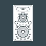 Solid color concert loudspeaker illustration. Stock Illustration