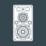 solid color concert loudspeaker illustration. - stock illustration