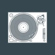 Solid color vinyl turntable device illustration. Stock Illustration