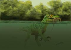 Stock Illustration of A Baryonyx escapes swimming from a brawl with a Hypsilophodon in his mouth.