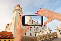 Bratislava castle tourism - stock photo