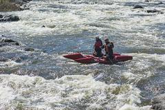 Sport catamaran on the rapid river Stock Photos