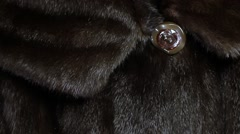 Collar with a button  mink coat. Stock Footage