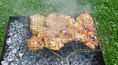 Skewers of chicken legs on the grill Stock Footage
