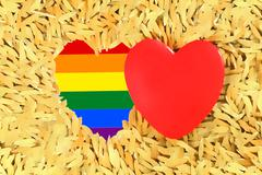 Stock Illustration of Rainbow Red heart and the LGBT gay pride flag