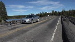 Car traffic Fishing Bridge Yellowstone River 4K Stock Footage