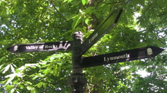 Valley of the Rocks Lynton Lynmouth Footpath Directions Sign in North Devon Stock Footage