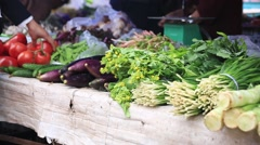 Street open air market selling vegetables Stock Footage