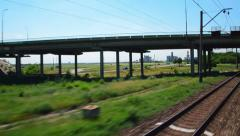 Railway. Traffic on the speed of the ways Stock Footage