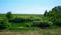 View of the landscape in the summer field Stock Footage