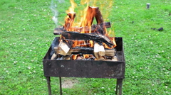 Burning wood in a brazier - stock footage