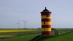 Pilsum Lighthouse in East Friesland, Germany Stock Footage