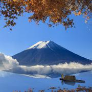 Image of sacred mountain of Fuji in the background at Japan Stock Photos