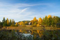 Serene autumn scene finland - stock photo