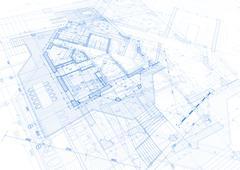 Architecture design: blueprint plan - vector illustration Stock Illustration
