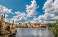 General view of Prague's historic center and the river Vltava - stock photo