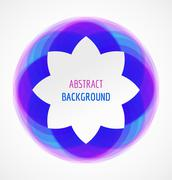 Abstract white floral banner on blue circle background Stock Illustration