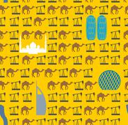 Landmarks In UAE and camels, oil pumps in desert seamless pattern. Vector bac - stock illustration