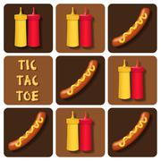 Stock Illustration of Tic-Tac-Toe of Sausage and Ketchup and Mustard