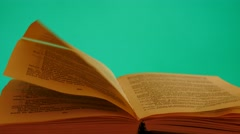 Wind turn the page in book  chroma key Stock Footage