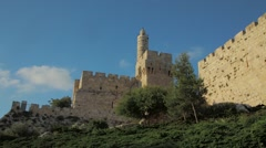 Jerusalem Walls - Tower of David Stock Footage