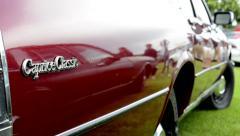 Old vintage American car Chevrolet Caprice Classic - closeup inscription Stock Footage