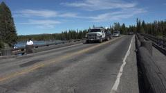 Traffic across Fishing Bridge Yellowstone River fast motion 4K Stock Footage