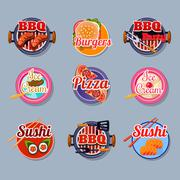 Set Stickers of Food - stock illustration