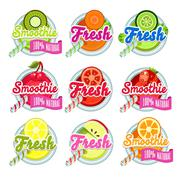 Set Sticers Smoothie with Ribbon and Freshes Stock Illustration