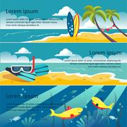 Set of Horizontal Banners with Seaside - stock illustration