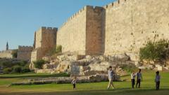 Kids playing at Jerusalem Walls - stock footage