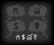 Business icons on the blackboard Stock Illustration