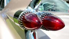 old vintage American car - detail of backlight - stock footage