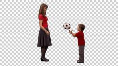 A female and child playing ball. Full HD footage with alpha channel Stock Footage