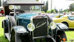 Old vintage Czech Republic car - SKODA (Laurin and Klement) Stock Footage