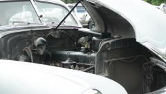 Vintage old american car: engine Stock Footage