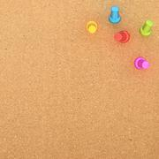 Cork board with five pins in the corner Stock Illustration
