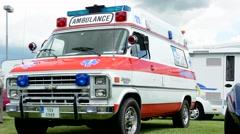 Car van - old vintage American ambulance - exhibition  Stock Footage