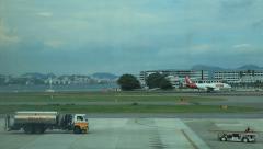 Airplane landing Santos Dumont Airport, Rio de Janeiro, Brazil. Aircraft. Stock Footage