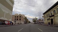Los Angeles Skid Row Rear View Driving Shot Stock Footage