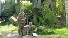 WW2 Polish soldier on guard Stock Footage