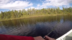 Slow motion fishing cast pov from chest Stock Footage