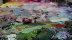 Oil Painting Palette close up. Rack Focus. Stock Footage
