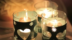 Small Candles Flickering Stock Footage