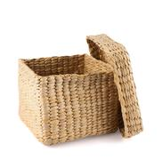 Box shaped wicker basket isolated - stock photo