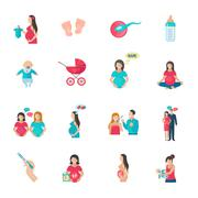Pregnancy Icons Flat Stock Illustration